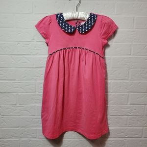 Hannah Anderson Pink dress with navy colarsize 110